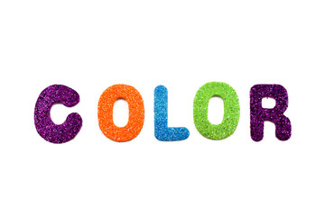Colored letters stock images. Colorful lettering on a white background. Decorative multi-colored inscription