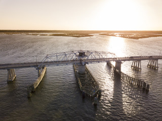 Aerial view of swing draw bridge over water