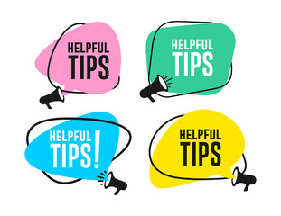 Set of helpful tips megaphone label. Vector illustration. Isolated on white background