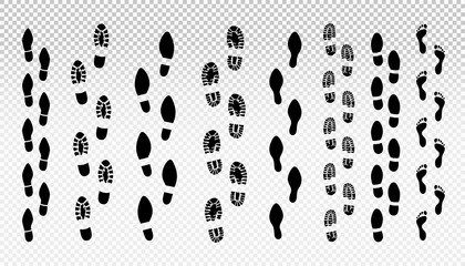Set of human footprint. Male and female tracks. Vector illustration. Isolated on transparent background