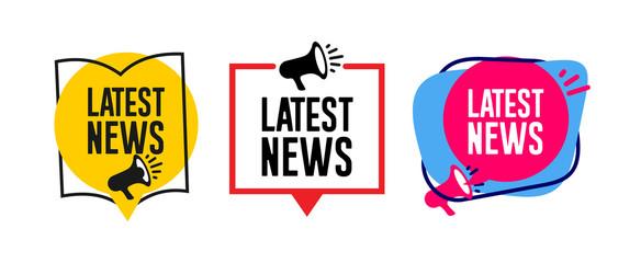 Set of Latest news megaphone label. Vector illustration. Isolated on white background