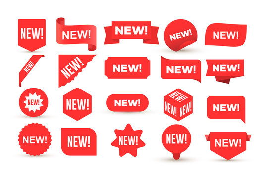 Set of new sticker. Badges with word new. Red promotion labels for arrivals shop section. Flat style cartoon. Vector illustration. Isolated on white background