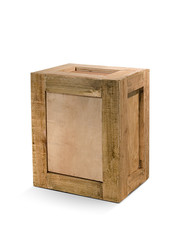 wooden crates isolated From white background
