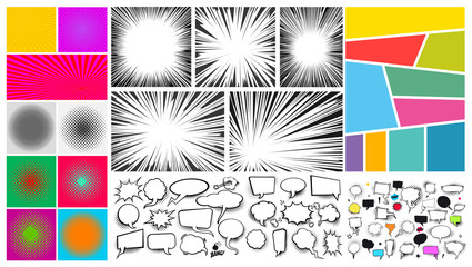 Big set of Pop art comic speech bubble sand, radial lines for comic books. Strip background with different colorful panels. Cartoon funny vintage strip mock up. Vector illustration