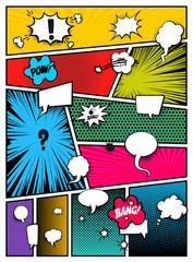 Set of pop art comics book magazine cover template. Cartoon funny vintage strip comic superhero text, speech bubble, balloon, box message, burst bomb, halftone. Blank graphic. Vector illustration