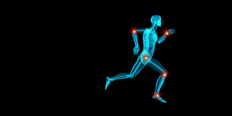 Artistic 3D illustration of a jogger having pain in his joints