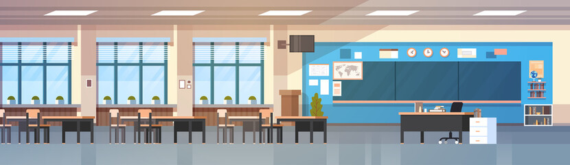 Classroom Interior Empty School Class With Board And Desks Horizontal Banner Flat Vector Illustration