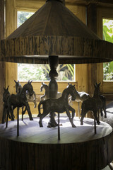 Vintage craft of wooden toy carousel