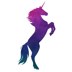 Watercolor vector unicorn silhouette illustration