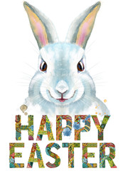 Watercolor illustration of a white rabbit with words happy easter