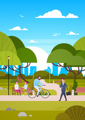 People Outdoors In Modern Park Sit On Bench, Walking And Riding Bicycle, Human In Nature Communicating Flat Vector Illustration