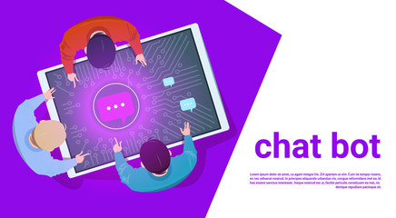 People At Digital Tablet Use Chat Bot Support Service Top Angle View Flat Vector Illustration