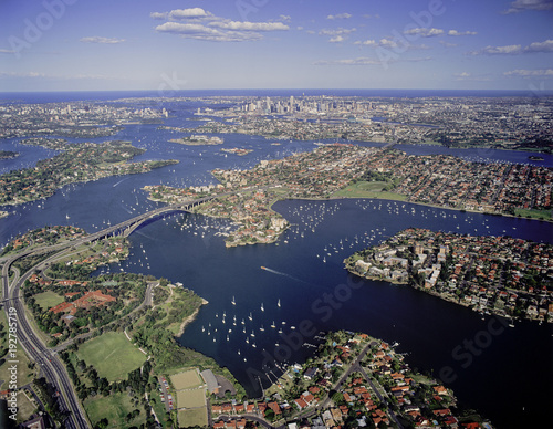 Aerial view of the Parramatta river and Gladesville bridge, Sydney , Australia.