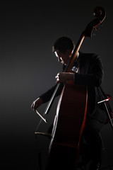Photo sur Aluminium Musique Double bass player contrabass playing