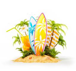 Surf boards on paradise island