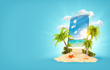 Tropical landscape on the screen of smartphone