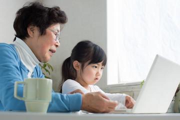 孫とパソコンを使うシニア