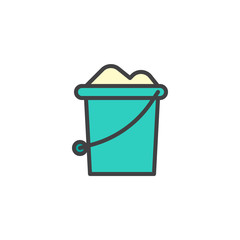 Sand bucket, line vector sign, linear colorful pictogram isolated on white. Symbol, logo illustration. Pixel perfect vector graphics