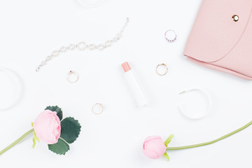 Woman fashion accessories flat lay, fashion blog concept.
