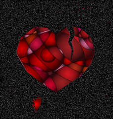 gray and broken red heart