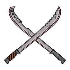 Cartoon machete. Two isolated crossed machetes. Vector illustration.