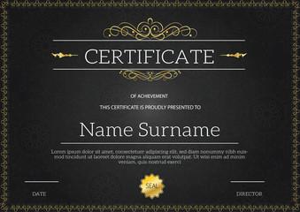 Vintage golden classic certificate ,Certificate of achievement template