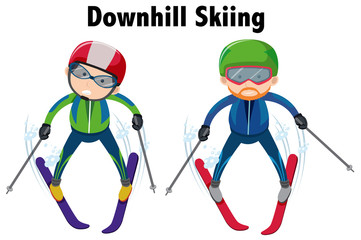 Two people doing downhill skiing