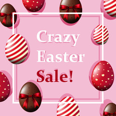 Poster design with decorated eggs on pink background