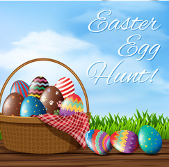Happy easter poster template with decorated eggs
