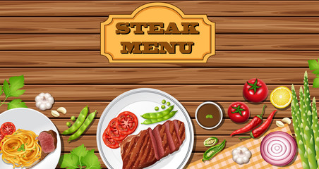 Menu template with steaks on wooden board