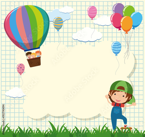 Border template with kids in balloon\