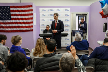 Conor Lamb addresses the crowd at a campaign event in Carnegie