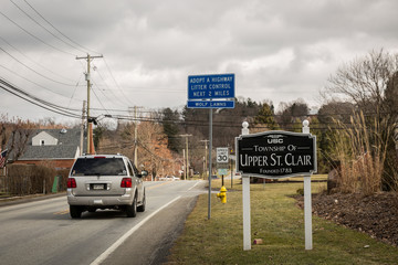 A vehicle enters the township of Upper St. Clair