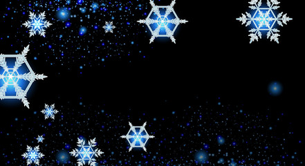 Background design with snowflakes at night