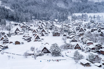 Wall Mural - Shirakawa-go village in winter, UNESCO world heritage sites, Japan.