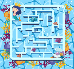 Maze game template with mermaid swimming in the sea