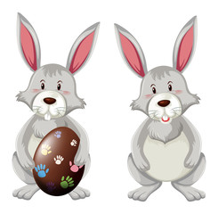 Two bunnies with easter egg
