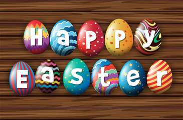 Happy easter with colorful eggs on wooden board