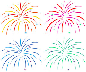 Different colors of fireworks on white background
