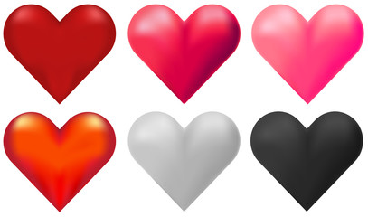 Hearts in six different colors