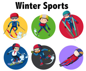 Sticker design for winter sports with people skiing and snowboarding