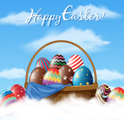 Easter poster design with many eggs in basket
