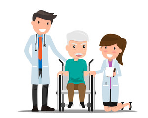 Doctor and older man patient in flat style isolated on white background. Consultation and medical diagnosis. Medicine concept with practitioner and medical healthcare vector illustration.
