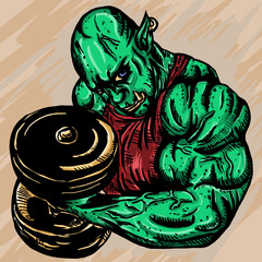 Orc bodybuilder colored