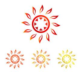真夏の太陽|シンボル セット(褐色、オレンジ、ゴールド)