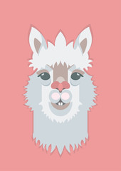 Cute adorable Alpaca or Lama face. Perfect print for fabric; t-shirt; poster; greeting cards; invitations; children room decoration; etc. Vector Illustration