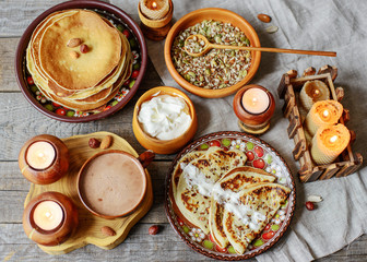 wooden dishes and food