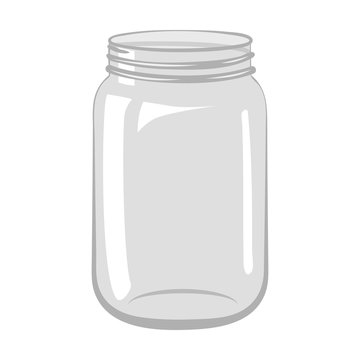 Empty open glass jar isolated on white background.