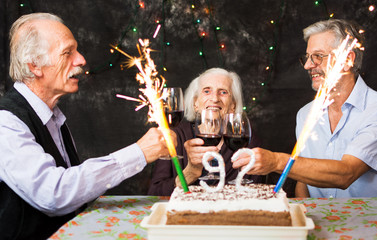 Senior people toasting on a birthday celebration