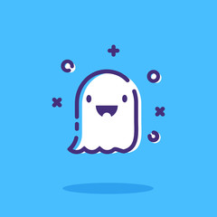 Halloween ghost Outline Vector icon. Halloween Symbols.